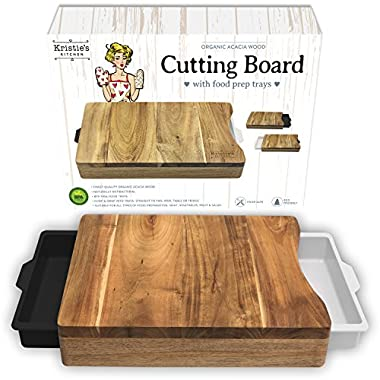 Kristie's Kitchen Cutting Board with Trays - Organic Acacia Wood Butcher Block with Containers White Black