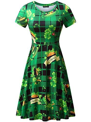 FENSACE St Patricks Day Womens Casual A-line Plus Size St Patricks Day Leggings (Medium, Green Hat)