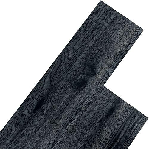 STILISTA Vinyl Laminat Dielen, 15 Dekors wählbar, 5,07m² oder 20m², rutschfest, wasserfest, schwer entflammbar - 5,07m² Eichenkrone schwarz