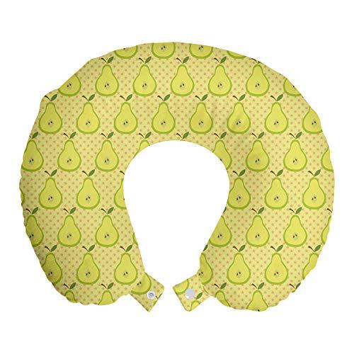 ABAKUHAUS Früchte Reisekissen Nackenstütze, Geschnetzeltes Birnen und Mini Sterne, Schaumstoff Reiseartikel für Flugzeug und Auto, 30x30 cm, Gelbgrün Blassgelb