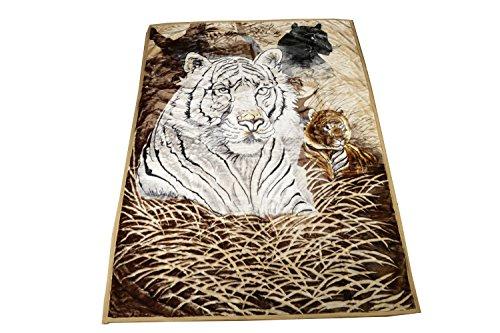 Almina Wolldecke Jungle AL-17 Decke Tierwelt Tiger Weiß Leopard Kuscheldecke Super Soft Waschmaschinengeeignet 100% PES Größe 200x240cm