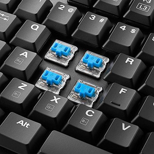 Sharkoon PureWriter RGB Mechanische Low Profile-Tastatur (RGB Beleuchtung, blaue Schalter, flache Tasten, Beleuchtungseffekte, abnehmbarem USB Kabel) Blau Schalter - 6
