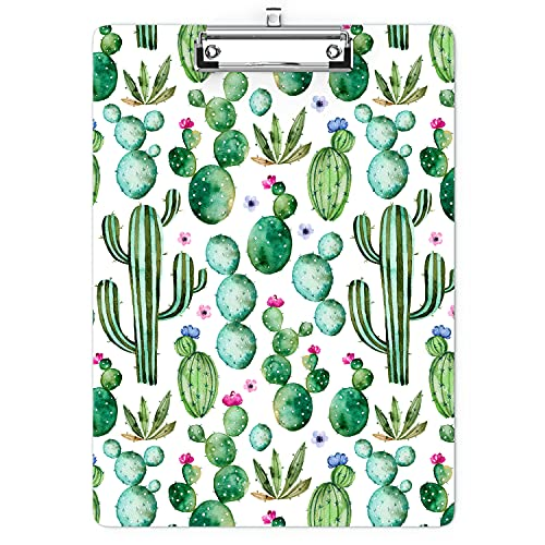 Cute Clipboard with Designs Wood A4 Letter Size Hardboard Office Clipboards, Retractable Hole for Hanging Decorative Clip Board -Watercolor Cactus(12.4' x 8.9')