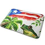 Love girl Bandera de Puerto Rico de la Vendimia Rana de árbol Entrada Alfombrilla Baño Piso Hogar Alfombra Antideslizante Oficinas Alfombra Cocina Baño Alfombra Decoración 80x50 cm