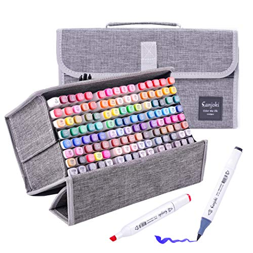 Sanjoki Alcohol Brush Markers 120 colors,Dual Tip Permanent Artist Sketch Markers for Kids and Adult