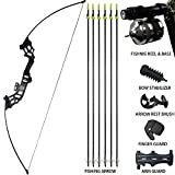 D&Q Archery Recurve Bowfishing Bow and Arrow Set 30 lbs 40 lbs with Complete Fishing Reel & Seat Ready for Fishing Hunting Shooting Pratice Takedown Bow Kit Right Handed (40 LBS)