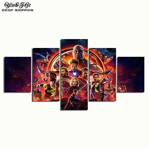 Fbhfbh Pittura Su Tela 3D, 5 Pezzi Di Marvel Avengers Infinity War Poster Stampa Su Tela Pittura Decorazione Domestica Immagine Da Parete Per Soggiorno-16X24/32/40Inch,With Frame
