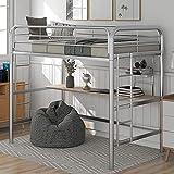 MWKL La más Nueva Cama Alta Tipo Loft de Metal con 77.75'L x 13.75' W, Escritorio, estantería, 2 escaleras y barandillas, Cama Tipo litera Doble para niños Que Ahorra Espacio