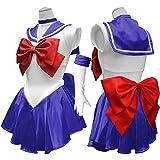 コスプレ 衣装 セーラー服 美少女戦士 コスチューム 豪華5点セット cos1038 (ブルー)