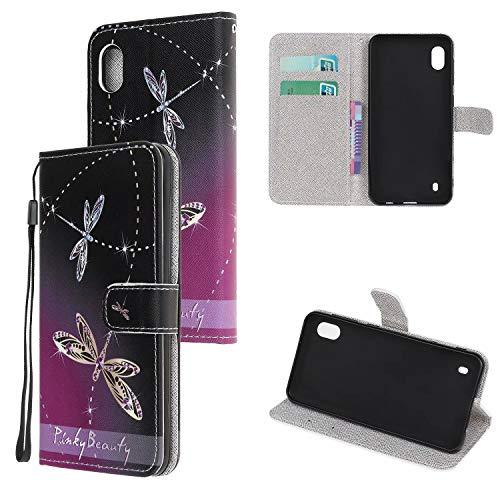 Miagon Bunt Muster Full Body Hülle für Samsung Galaxy A10,PU Leder Leder Flip Case Schutzhülle Tasche mit Ständer Kartenfach Magnetschnalle,Libelle