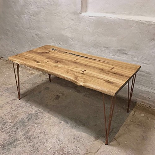 CosyWood Hairpin Legs Live Edge Oak Industrial Dining Table (8 seater 180x80x75 cm)