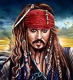 Kit de bordado de pintura de diamante 5D, personaje de película'Piratas del Caribe', punto de cruz...