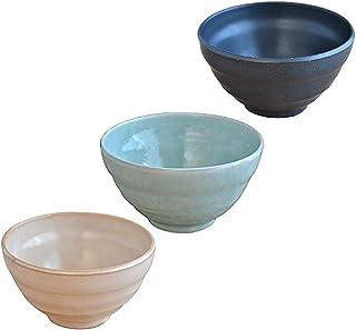 テーブルウェアイースト 和のうつわ やすらぎめし碗 アウトレット込み 3色1個ずつセット 茶碗 和食器 ボウル 黒,ベージュ,ブルー 11.9 x 6.5 cm FBA-mo-T1-1001-3