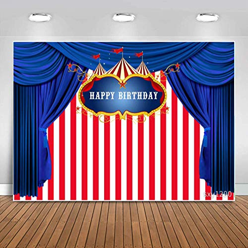 Sensfun Carnival Theme Birthday Backdrop White and Red Stripes Blue Curtain Circus Carousel Photo Background for Boy Girl 1st Birthday Party Decor Kids Bday Dessert Table Banner Photobooth Props 7x5ft