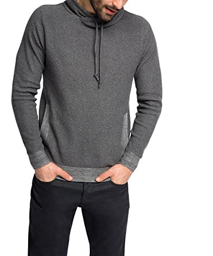Edc by Esprit mit Struktur Pull, Gris (Dark Grey 020), Large (Taille Fabricant: L) Homme