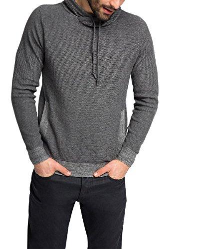 Edc by Esprit mit Struktur - Pull - Coupe cintrée - Col Châle - Manches Longues - Homme - Gris (Dark Grey 020) - XX-Large (Taille Fabricant: XL)