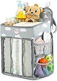 Pannolino Organizzatore, Baby Nursery Organizer Multifunzione da Comodino da Appendere Borsa Presepe Immagazzinaggio, Fasciatoio,Borsa Portaoggetti da Parete,Cesto Regalo per Doccia Baby (grigio)