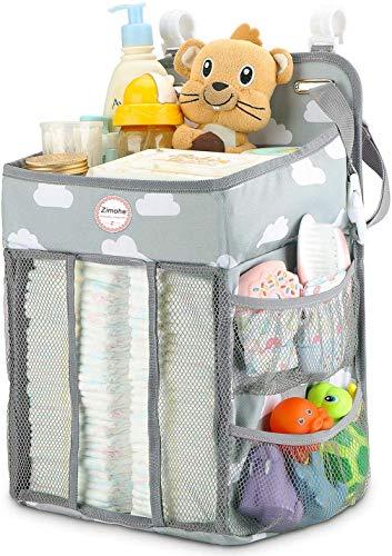 Multifunktionale Nachttischtasche zum Aufhängen, Aufbewahrungstasche, Baby Windelablage Organizer Multifunktionale Tragbar Aufbewahrungskorb Tragetasche mit Trennfächern für Kinderzimmer (Grau)