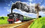 Fanshop Lünen Fahne - Flagge - Eisenbahn - Zug - Dampflok - 90x150 cm - Hissfahne 2 Ösen - Lokomotive - Zug -