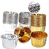 Ziyero 100 Piezas Envases de Aluminio para Hornear Liners Cupcake Cases Tazas de Revestimiento de...