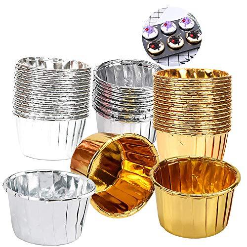 Ziyero 100 Piezas Envases de Aluminio para Hornear Liners Cupcake Cases Tazas...