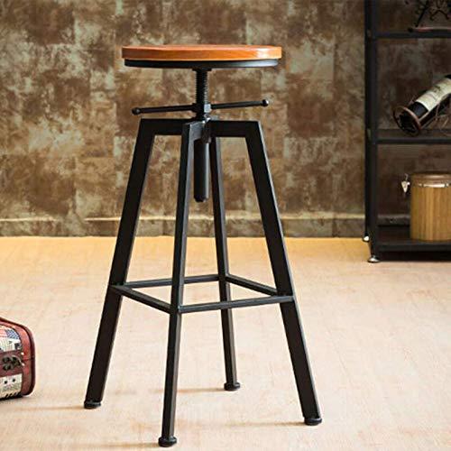 Taburete de bar vintage industrial, altura regulable, madera de metal FR Stock