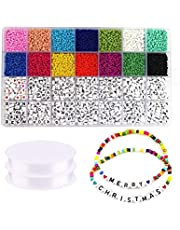 SAPU 5000pcs 3mm Beads and 2600pcs Alphabet Letter Beads for Name Bracelets Jewelry Making and Crafts, with 2*33 Feet Long Elastic String Cords and Storage Box