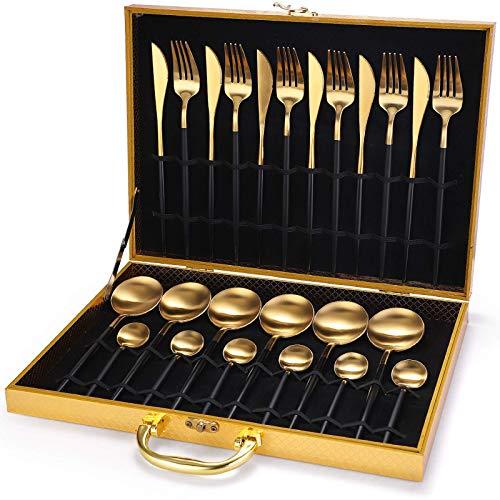 24 Piece Cutlery Set, 410 Stainless Steel Cutlery Set Con Pacchetto Scatola Di Legno, Adatto Per 6 Persone, Adatto Per Ristorante Cucina/Raccolta, Lavabile In Lavastoviglie (Negro + oro)