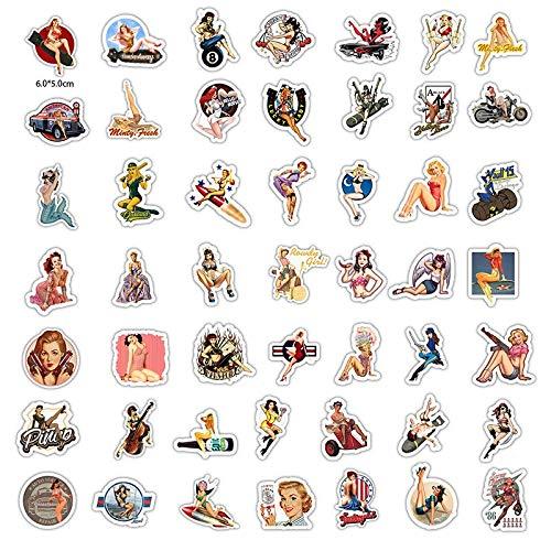 AXHZL Etiqueta engomada Decorativa de la Etiqueta de la Aguja de la Muchacha Retro Europea y Americana Etiqueta engomada de la Etiqueta engomada del álbum de Recortes del Diario de DIY 50 Uds