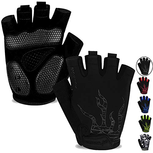 MOREOK Mens Cycling Gloves,Half Finger Biking Glove MTB DH Road Bicycle Gloves Gel Pad Shock-Absorbing Anti-Slip Breathable Motorcycle Mountain Bike Gloves Unisex Women AK050-Black-M