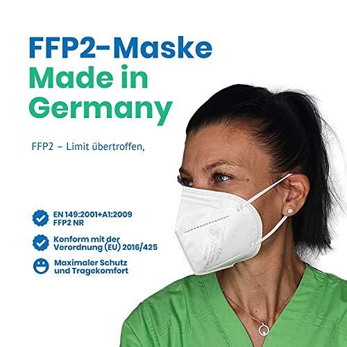 FFP2 Maske in Deutschland hergestellt – DEKRA zertifizierte Atemschutzmaske mit 98% Filterwirkung – EN 149 geprüft, 4-lagig, kein KN95-10 Stück - 2