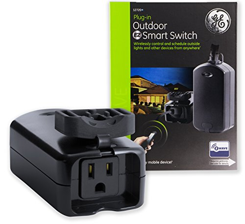 GE Z-Wave Wireless Smart Lighting Control Outdoor Module, On/Off, Plug-In, Black, Hub Required, 12720, Works with Alexa