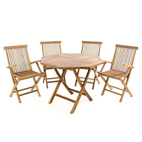 Divero GL05608 Balkonset Klappstuhl Tisch rund Ø 60cm 5 Stück, braun