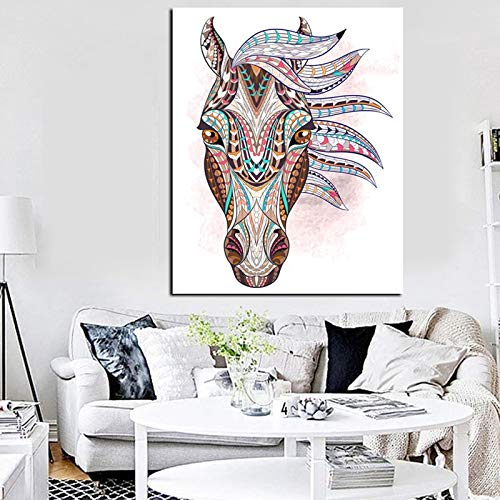 N / A HD Druck geometrische Tätowierung Indischer Pferdekopf Ölgemälde Leinwand Moderne Wandkunst Bild Wohnzimmer Sofa rahmenlose dekorative Malerei A59 40x60cm