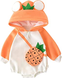 Xifamniy Infant Unisex Baby Autumn Thicken Romper Fruit Pttern Bag Hooded Jumpsuit