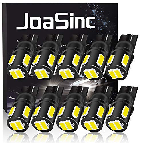 JoaSinc T10 LED W5W Lampadine LED Auto Interni, Luci posizione LED, 194 168 501 Lampadine bianche 6-SMD 5630 per luci di posizione auto, cruscotto, targa, bagagliaio, DC 12 V, confezione da 10