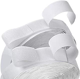 Hook and Loop Self Adhesive Tape Strip Sticky Back Fastener 0.75in(2cm) Width and16ft(5m) Length (White)
