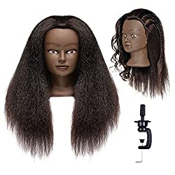 small Afro Mannequin Head Hairdresser Training Head Mannequin Beauty Doll Head 100% 22-24 inch Genuine …