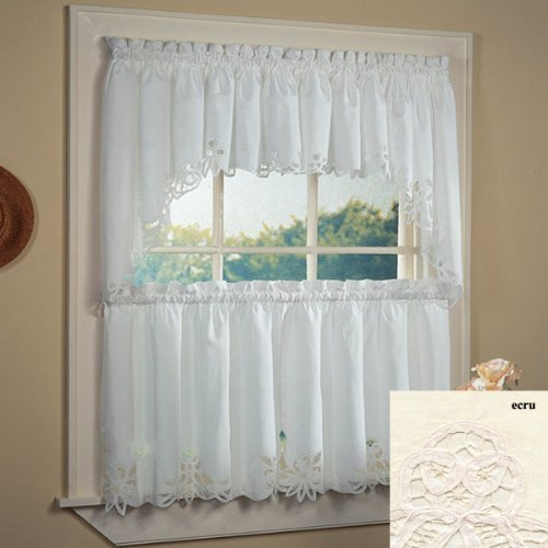 Fancy Collection 3pc Off White /Beige with Embroidered Kitchen/Cafe Curtain Tier and Swag Set Battenburg New (60'x 38', Ercu)