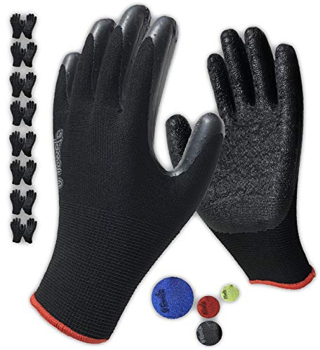 Safety Work Gloves Latex Coated - 8 Pair Pack, Firm Grip, General Purpose, Repairing and Construction, for Men and Women ( Size Large Fits Most, Black )