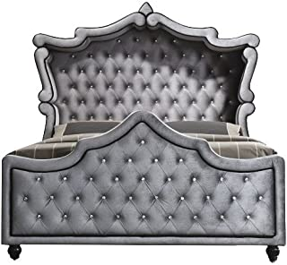 Meridian Furniture Hudson Collection Grey Velvet Upholstered Canopy Bed with Crystal Button Tufting, and Custom Solid Wood Legs, Grey, King