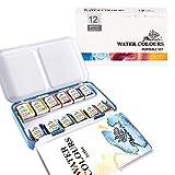 PHOENIX Artist Grade Watercolor Paint Set Half Pan 12 Colors - Non-Toxic Watercolor Portable Set Tin Box for Professional Artists