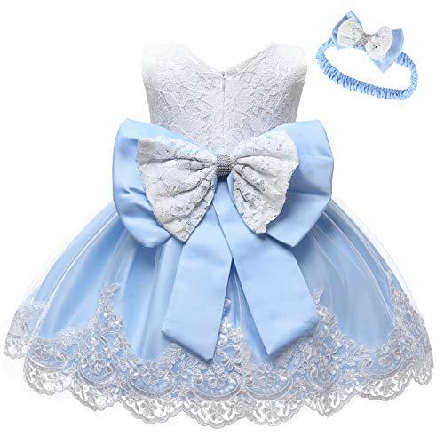 LZH Baby Girls Flower Dress Wedding Party Toddler Dres Birthday Special Occasion Girls Dress Light Blue