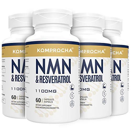 NMN+ Trans-Resveratrol 1100MG, angereichert mit schwarzem Pfeffer für maximale Absorption, leistungsstarkes Antioxidans & Anti-Aging Nahrungsergänzungsmittel (240 Kapseln, 4er Pack)
