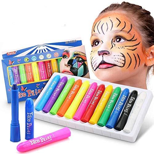 DY_Jin Pintura Facial,Buluri 12 Colores Face Paint Crayons Conjuntos de Pintura Corporal Faciales Seguros y no Txicos(12colors)
