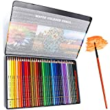 PuTwo Coloured Pencils, 36 pcs Numbered Watercolour Pencils with Brush Pen and Metal