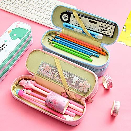 DishyKooker Double Layer Pencil Case Große Kapazität Reißverschluss Stift Tasche Beutel Cartoon Schule Briefpapier Versorgung Rosa articulos de producto