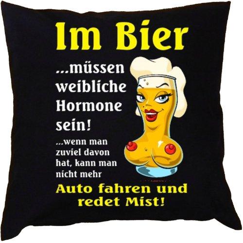Kissen mit Innenkissen - Biertrinker - Im Bier müssen weibliche Hormone sein... - mit 40 x 40 cm - in schwarz : )
