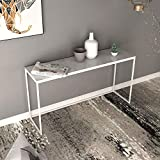 OuPai Table Console Table, Living Room Wall Edge Sofa Table Narrow Table Marble Accent Table Entryway White 31 × 11 × 29 Inch for Living Room Bedroom