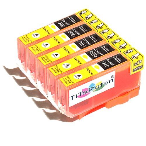 *TITOPATEN* - 5X Canon Pixma MG 6150 kompatible XL Druckerpatrone - Gelb - Patrone MIT CHIP !!!Hohe Laufleistung!!!